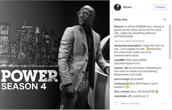 50 Cent indicou o boxeador Floyd Mayweather como seu substituto em 'Power' (Foto: Instagram)