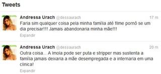 Andressa Urach sobre Bárbara Evans no Twitter (Foto: Twitter/ Reprodução)