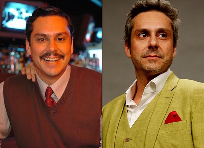 À esquerda, Alexandre Nero com o visual de 2007 quando participou de 'Casos e Acasos'. À direita, o ator já pronto para interpretar Romero Rômulo (Foto: Márcio de Souza / TV Globo / Ellen Soares / Gshow)