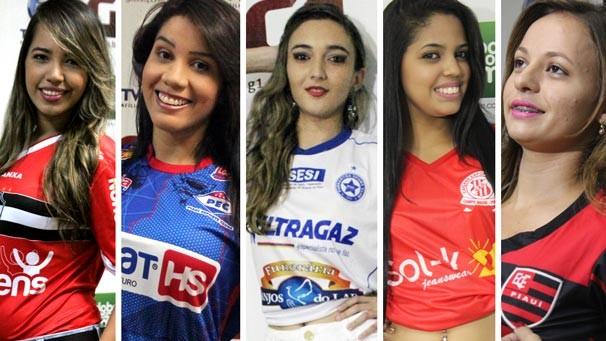 Cinco jovens disputam o título de musa do Campeonato Piauiense (Foto:  Emanuele Madeira/ Globoesporte.com/PI)