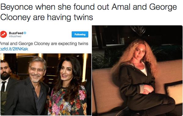 Uma montagem mostra Beyoncé chateada com o anúncio da gravidez de gêmeos de George Clooney e a esposa (Foto: Twitter)