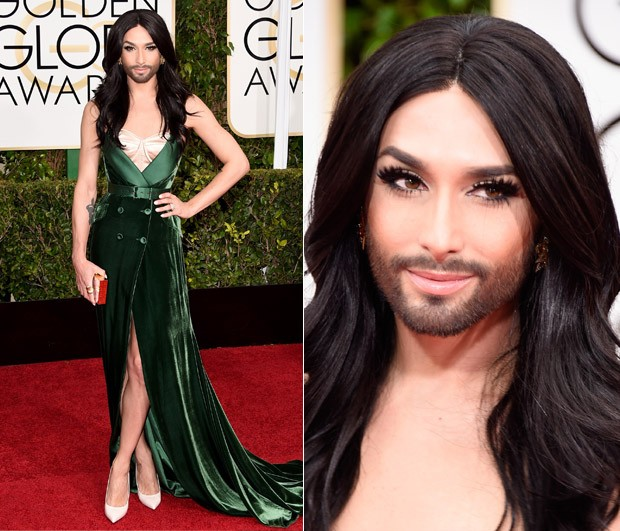 Conchita Wurst no Globo de Ouro 2015 (Foto: Getty Images)