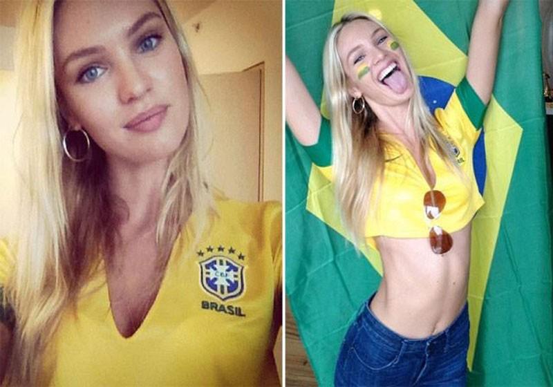 A top Candice Swanepoel compartilhou recentemente uma foto vestindo nossa camiseta para apoiar os protestos no Brasil e torcer pelo país na Copa das Confederações