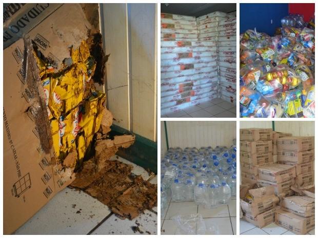 Alimentos e colchões estão armazenados em depósitos da cidade  (Foto: Quésia Melo/ G1)