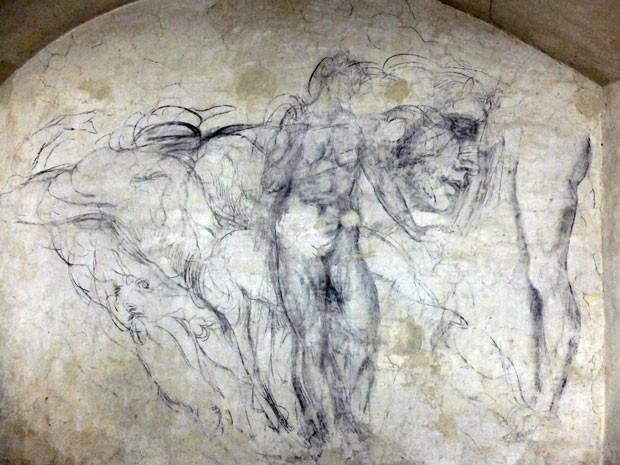 Desenho de Michelangelo na sala secreta da capela Medici da Basilica di San Lorenzo, em Florença (Foto: Claudio Giovannini/AFP)
