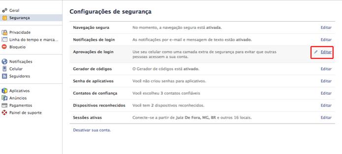 Acessando as configurações autenticação em duas etapas no Facebook (Foto: Reprodução/Marvin Costa) (Foto: Acessando as configurações autenticação em duas etapas no Facebook (Foto: Reprodução/Marvin Costa))