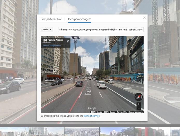 Opção de incorporação do Street-View (Foto: Reprodução/André Sugai)