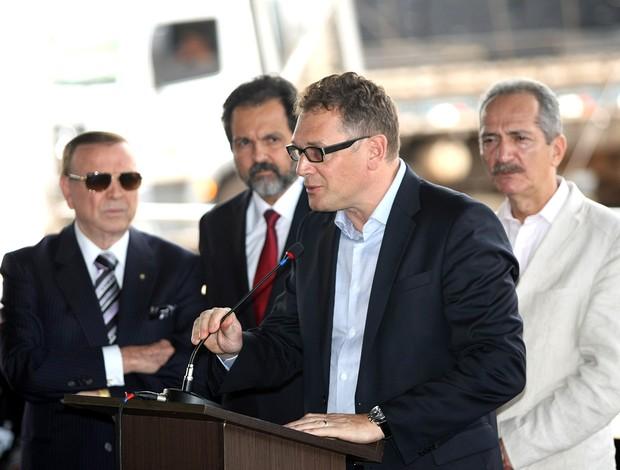 Jerome Valcke no evento no estádio Nacional em Brasília (Foto: Ag. Estado)