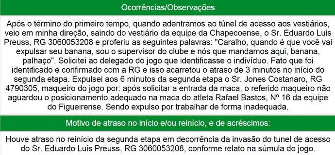 Súmula Heber Roberto Lopes Cadu Gaúcho (Foto: Reprodução)