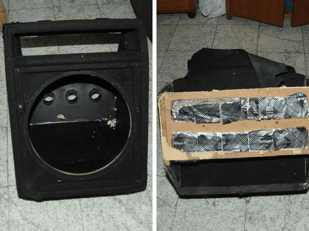 Caixa de som escondia 6kg cocaína dentro de mala de russa (Foto: Divulgação/Polícia Federal)