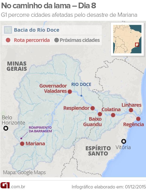 Mapa - DIA 8 - Rio Doce: caminho da lama  (Foto: Arte/G1)