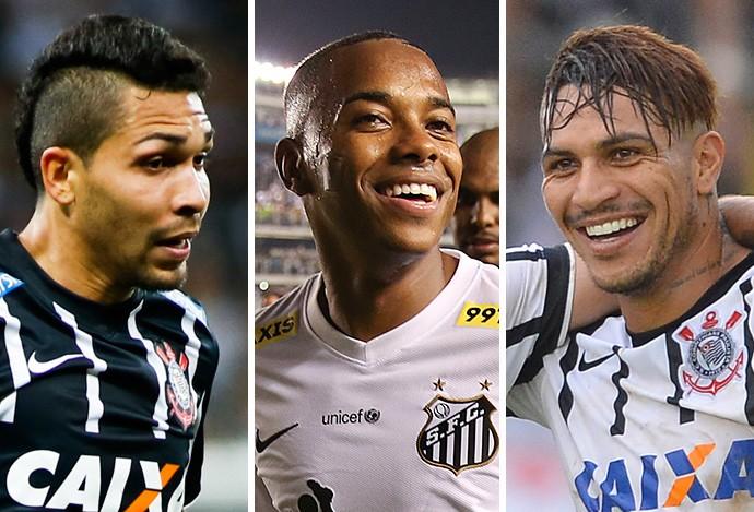 Montagem Petros, Robinho e Guerrero (Foto: GloboEsporte.com)