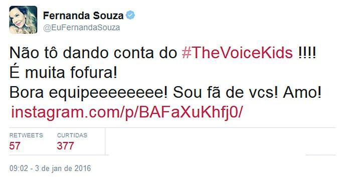 A atriz Fernanda Souza fois mais uma que falou da fofura no palco (Foto: Reprodução/Internet)