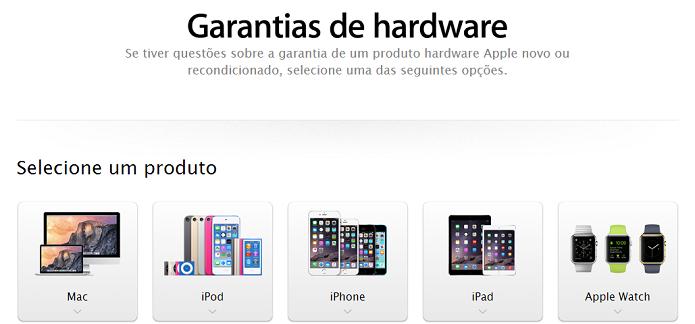 Página tem opções de garantia para cada produto (Foto: Reprodução/Aline Jesus) (Foto: Página tem opções de garantia para cada produto (Foto: Reprodução/Aline Jesus))