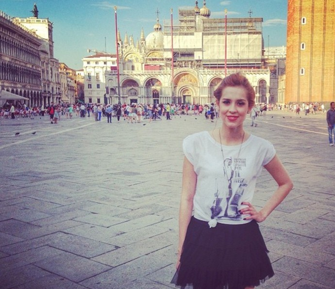 Sophia Abrahão em Piazza Di San Marco, na Itália (Foto: Arquivo Pessoal)