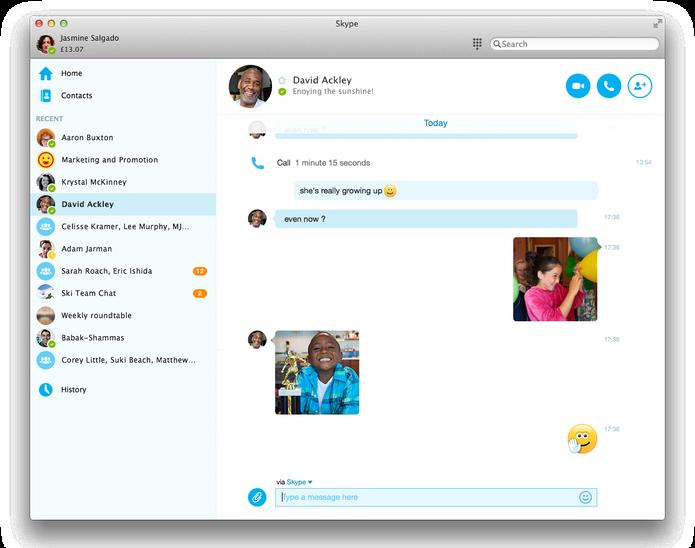 Novo visual do Skype 7.0 no Mac OS X (Foto: Divulgação/Skype)