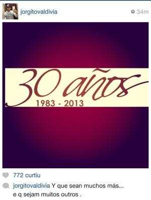 Valdivia aniversário (Foto: Reprodução/Instagram)