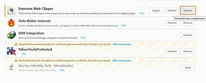 Desinstale complementos que não precisar mais no Firefox (Foto: Reprodução/Barbara Mannara)