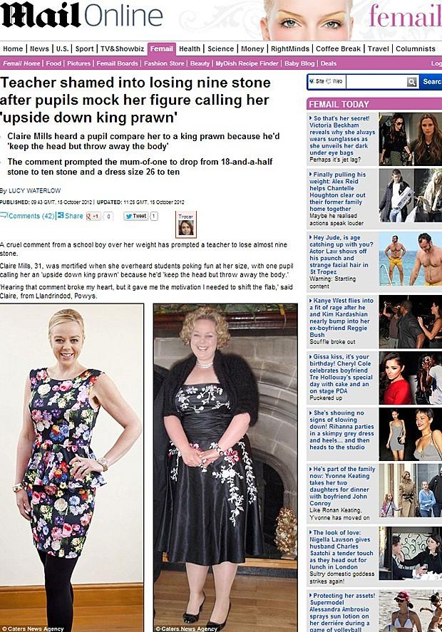 Professora emagreceu (Foto: Daily Mail/Reprodução)