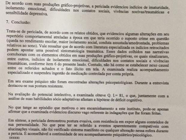 Defesa de Patrícia alega que cliente não possui transtornos de personalidade baseando-se no laudo acima feito pela Polícia Civil de Brasília (Foto: Reprodução)