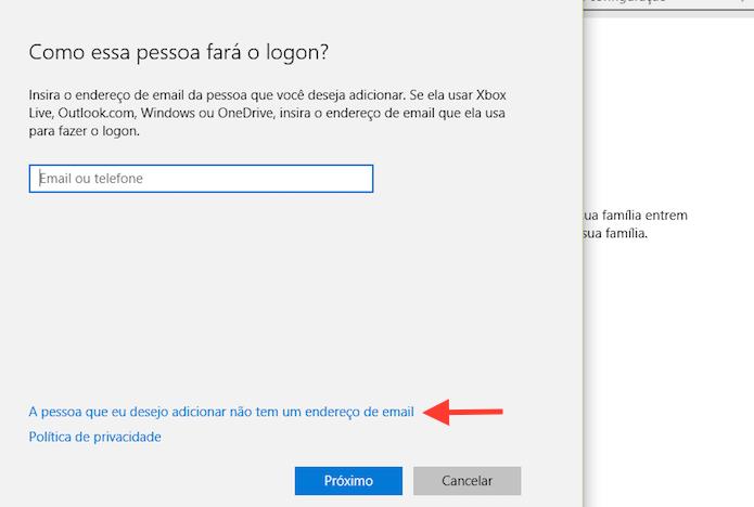 Acessando a opção para adicionar um usuário ao Windows 10 sem uma conta da Microsoft (Foto: Reprodução/Marvin Costa)