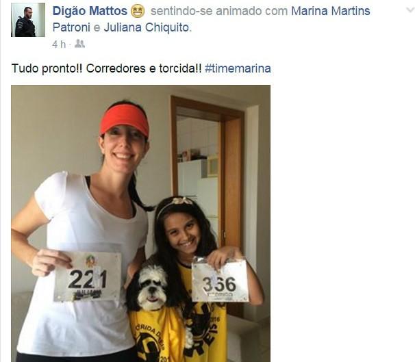 Até o cachorrinho entrou para o Time Marina (Foto: arquivo pessoal)