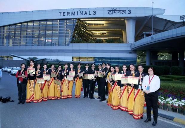 Tripulação feminina da Air India (Foto: Divulgação Air India)