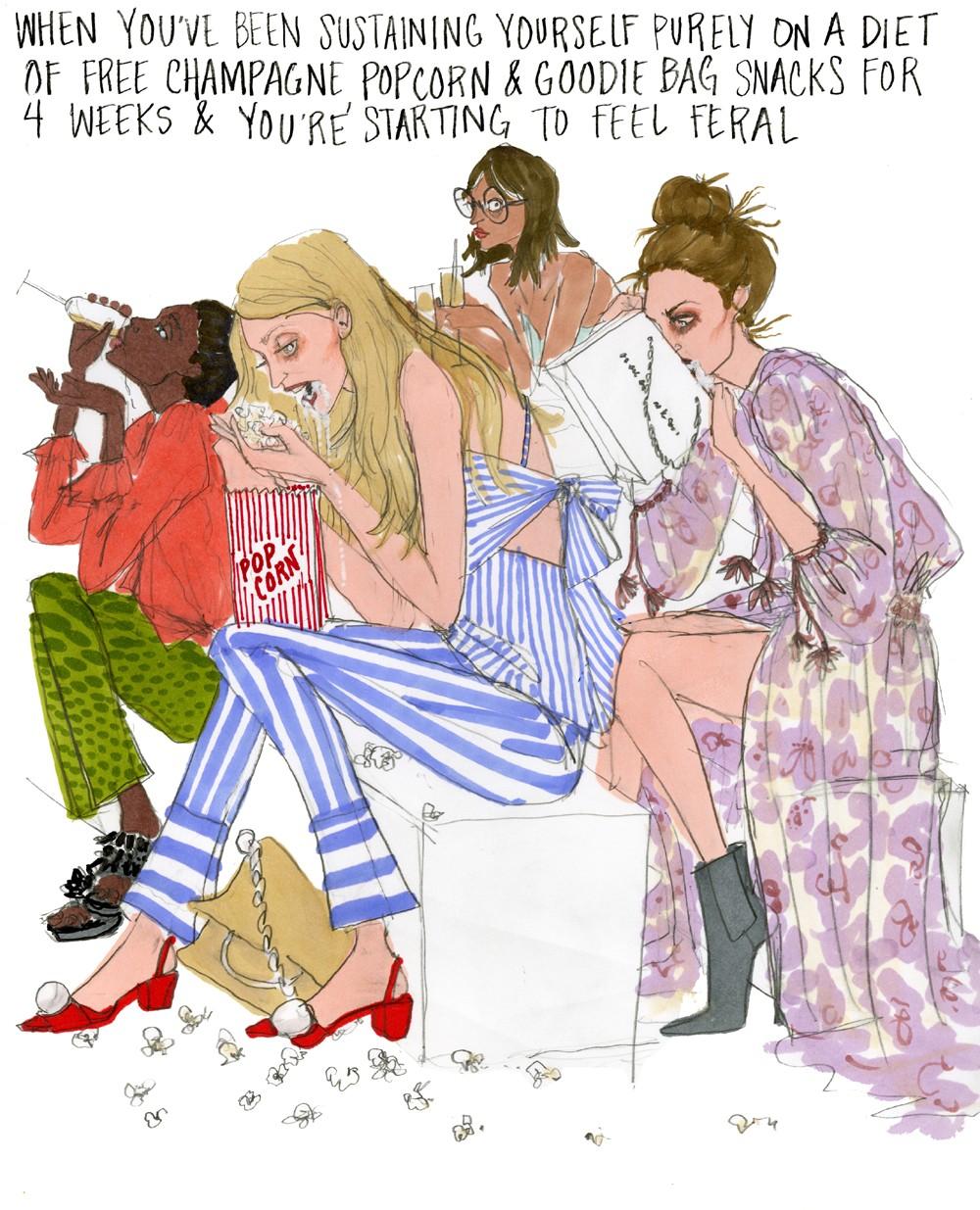 """""""Quando você começa a se sentir selvagem após se sustentar basicamente com uma dieta de champanhe grátis, pipoca e snacks das sacolinhas de jabá por 4 semanas"""" (Foto: Ilustração Julie Houts/Divulgação)"""
