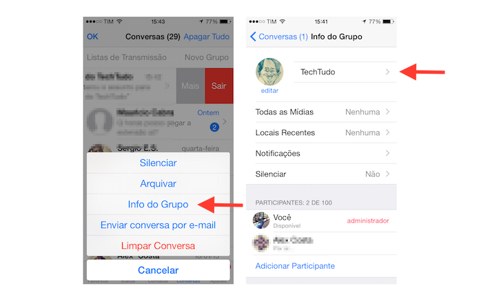 Acessando as configurações de um grupo do WhatsApp no iOS (Foto: Reprodução/Marvin Costa)