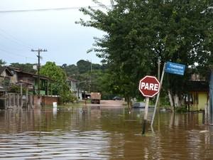Ruas foram inundadas em Ferreira Gomes (Foto: Abinoan Santiago/G1)