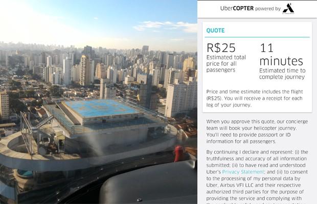 UberCOPTER: você chegou ao seu destino (Foto: Cristiano dos Santos)