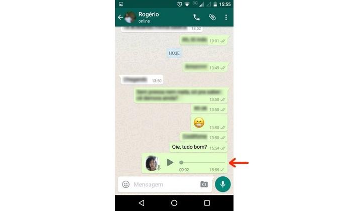 Áudio enviado para contato que desativou confirmação de leitura do WhatsApp (Foto: Reprodução/Raquel Freire)