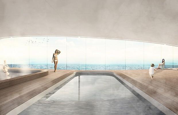 A piscina é um dos locais quer servirão tanto para os convidados relaxarem quanto para grandes festas (Foto: Divulgação)