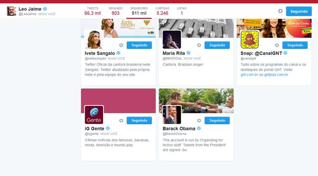 Seguidores famosos de Léo Jaime no Twitter (Foto: Reprodução)