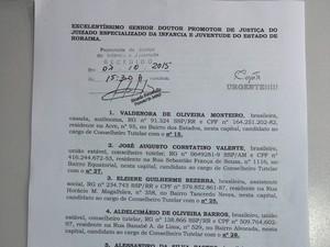 Documento foi protocolado nesta quarta-feira (7) na Promotoria de Justiça da Infância e Juventude (Foto: Reprodução)