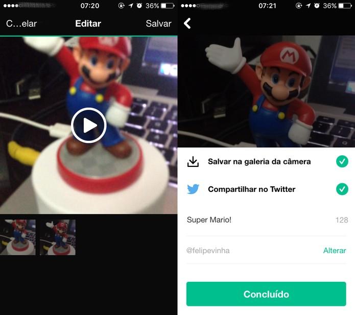 Como usar o novo Vine Camera e compartilhar seus vídeo no Twitter (Foto: Reprodução/Felipe Vinha)