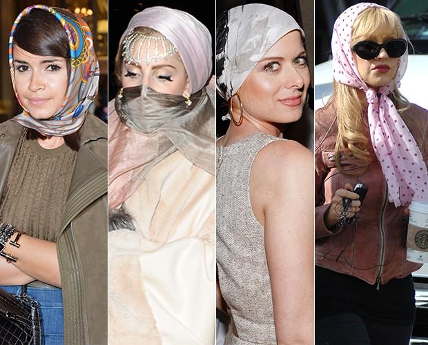 Moda lenços - Miroslava Duma, Lady Gaga, Debra Messing e Christina Aguilera (Foto: Getty Images/Agência)