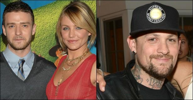 Lembra-se de quando a atriz Cameron Diaz namorava o cantor Justin Timberlake? Ela é quase uma década mais velha. No início de 2015, Cameron se casou com o vocalista do Good Charlotte Benji Madden (à dir.), que está com 35 anos, enquanto ela tem 42. (Foto: Getty Images)