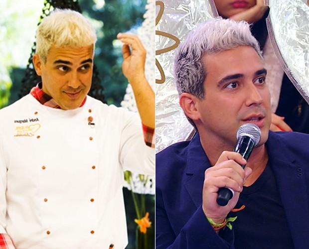 Compare o cabelo do apresentador antes e agora (Foto: Caldeirão do Huck/TV Globo)