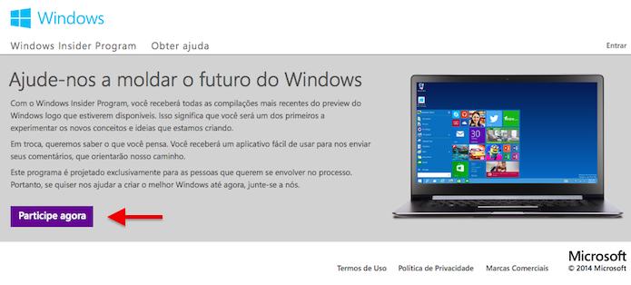 Entrando para o programa de testes do Windows 10 (Foto: Reprodução/Helito Bijora)