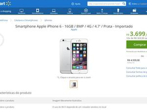 Walmart começa a vender no Brasil iPhone 6 e iPhone 6 Plus, que ainda não foram autorizados pela Anatel. (Foto: Reprodução/Walmart.com)