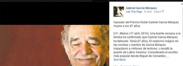 Post no Facebook oficial de García Márquez anuncia a morte do autor (Foto: Reprodução/Facebook/García Márquez)
