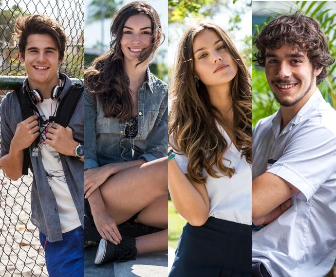 Nicolas Prattes, Marina Moschen, Pâmela Tomé e Vitor Novello estarão no primeiro #paporeto (Foto: Fabiano Battaglin/Ellen Soares/Gshow)