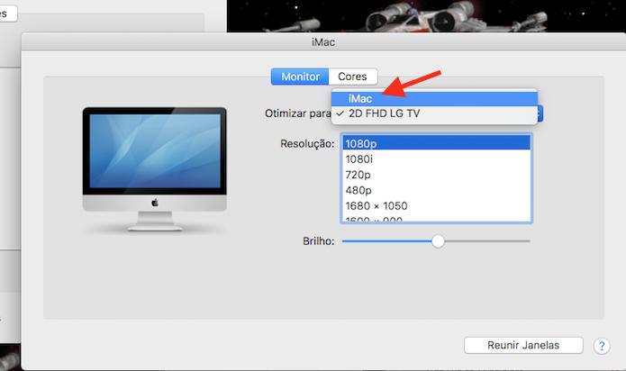 Opção para otimizar a resolução de um monitor espelhado com o Mac (Foto: Reprodução/Marvin Costa)