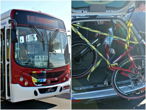 Ônibus da linha 416 e bicicleta da vítima envolvidos no acidente (Foto: Tiago Melo/G1 AM)