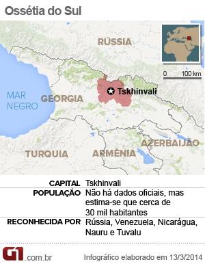 mapa osseitia do sul (Foto: Arte/G1)