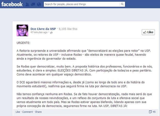 DCE da USP publica nota sobre anúncio de eleições diretas para reitor (Foto: Facebook/DCE Livre da USP)