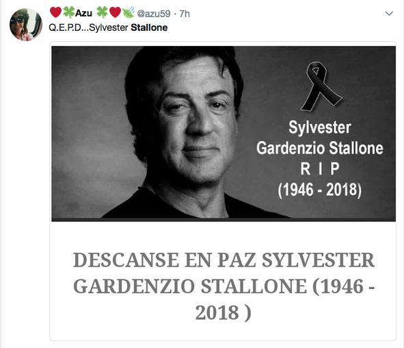 Uma fã compartilhando imagem anunciando a morte do ator Sylvester Stallone (Foto: Twitter)