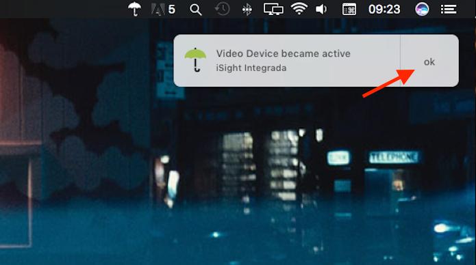 Confirmação da integração da webcam do Mac com o OverSight, software gratuito que impede o acesso indevido à webcam do computadores da Apple (Foto: Reprodução/Marvin Costa)