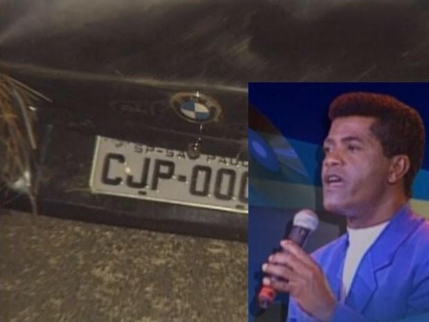 Na foto, a BMW que João Paulo (no detalhe) dirigia em 1997 (Foto: Reprodução / Arquivo TV Globo)